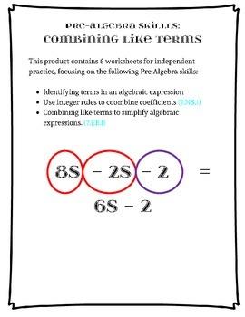 Pre-Algebra:  Combining Like Terms