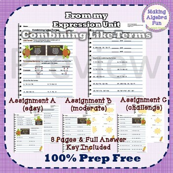 Pre-Algebra Combining Like Terms Notes & Differentiated Homework