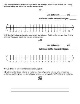 Pre-Algebra Common Core Quiz on Types of Numbers