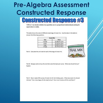 Pre-Algebra Constructed Response (3 Questions)