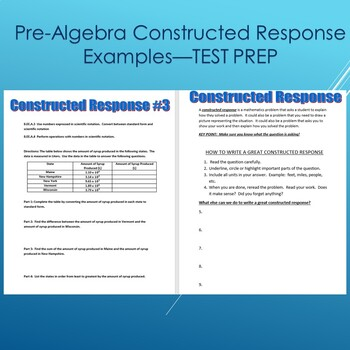Pre-Algebra Constructed Response Questions