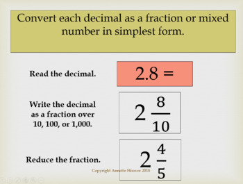 Pre-Algebra Converting Decimals to Fractions PowerPoint and Interactive Notebook