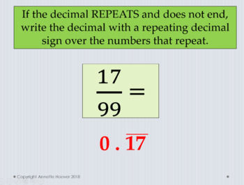 Pre-Algebra Converting Fractions to Decimals PowerPoint and Interactive Notebook