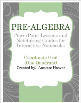 Pre-Algebra Coodinate System One Quadrant PowerPoint and Interactive Notebook