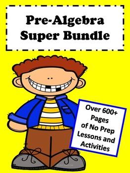 Pre-Algebra Curriculum: (Graphics) Super Bundle No Prep Lessons (600+ Pages)
