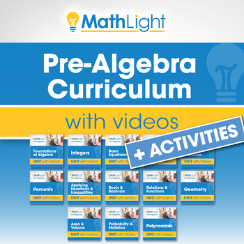 Pre Algebra Curriculum with Videos + Activities | Good for Distance Learning
