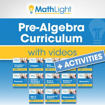 PreAlgebra Curriculum + Videos + Activities | Growing Bundle | Distance Learning
