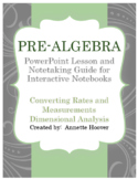 Pre-Algebra Dimensional Analysis PowerPoint and Interactive Notebook Page