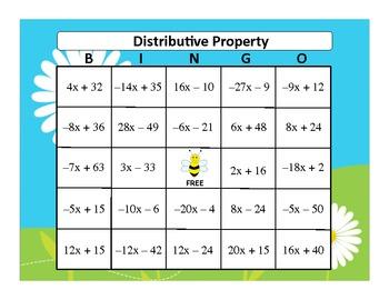 Pre-Algebra: Distributive Property BINGO Game