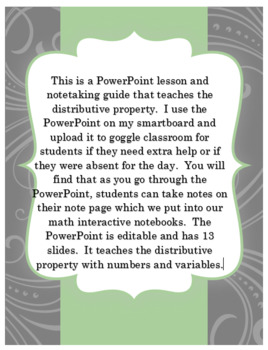 Pre-Algebra Distributive Property PowerPoint and Interactive Notebook Page