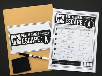Pre-Algebra End of Year Review - Escape Room Activity