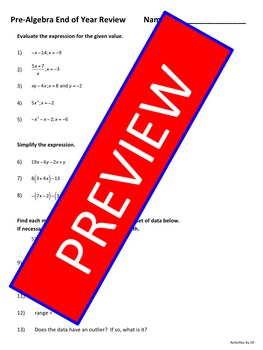 Pre-Algebra End of Year Review EDITABLE