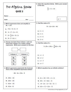 Pre-Algebra Review Packets + Editable Quizzes