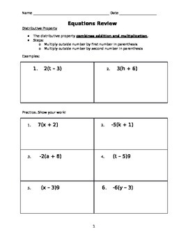 Pre-Algebra Equations Review Packet