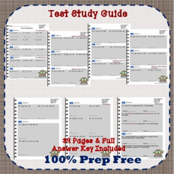 Pre-Algebra Equations Unit Study Guides Differentiated Quizzes & Tests