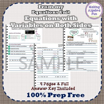 Pre-Algebra Equations Variables on Both Sides Notes & Differentiated Homework