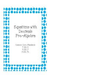 Pre-Algebra Equations with Decimals Task Cards