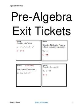 Pre-Algebra Exit Tickets