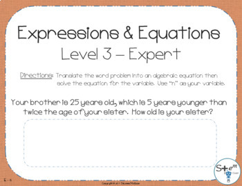 Pre-Algebra: Expressions and Equations with Boom Learning Digital Card Deck
