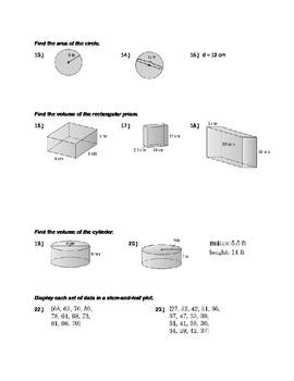 Pre-Algebra Final Exam Review