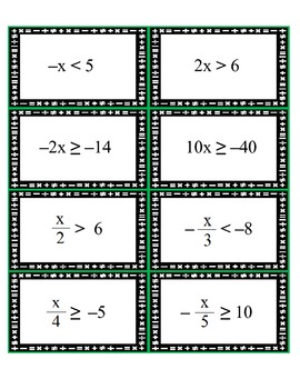 image regarding Algebra Flashcards Printable referred to as Pre-Algebra: Flashcards - Resolving A single-Action Inequalities