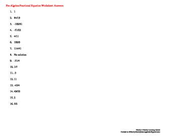 Pre-Algebra Fractional Equation Worksheet