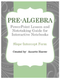 Pre-Algebra Graphing with Slope-Intercept PowerPoint and INB