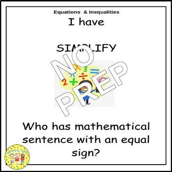 Pre-Algebra I Have, Who Has Games