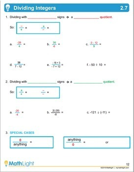 Integers   Pre Algebra Unit with Videos