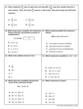 Pre-Algebra: Mid-Year (Semester) Test and Study Guide