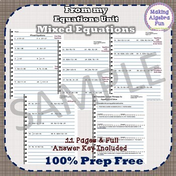 Pre-Algebra Mixed Equations Notes & Differentiated Homework