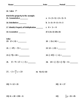 Pre-Algebra Mixed Review Study Guide