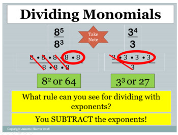 Pre-Algebra Multiply and Divide Monomials PowerPoint Lesson and Notetaking Guide