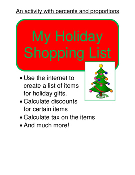 Pre-Algebra:  My Holiday Shopping List (Proportions and Percents)