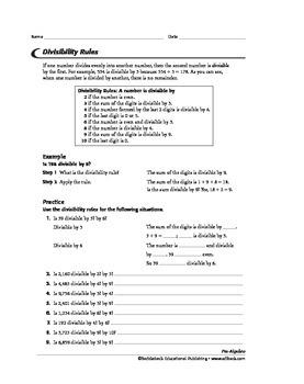 Pre-Algebra: Number Theory 2