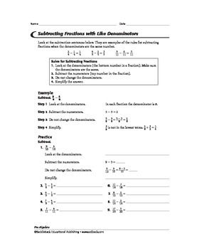 Pre-Algebra: Operations with Fractions and Mixed Numbers