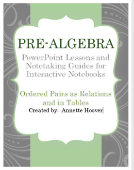 Pre-Algebra Ordered Pairs and Relations PowerPoint and Interactive Notebook Page