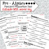 Pre Algebra - Percent Proportion Editable with Answer Key