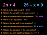 Writing Algebraic Expressions POWER POINT Notes & Practice Common Core