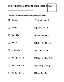 Combining Like Terms Worksheet | Teachers Pay Teachers
