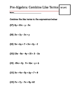 Pre-Algebra Practice Worksheet: Combine Like Terms | TpT