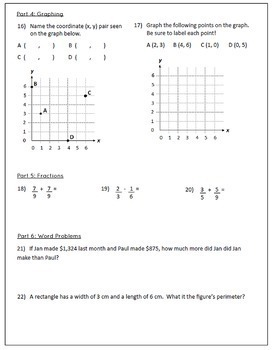 Middle School Math Pre-Assessment plus Check-In Quizzes