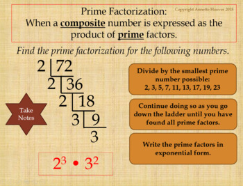 Pre-Algebra Prime Factorization PowerPoint and Interactive Notebook Page