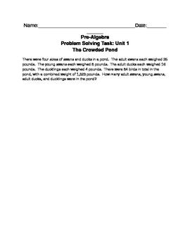 Pre-Algebra Problem Solving Task