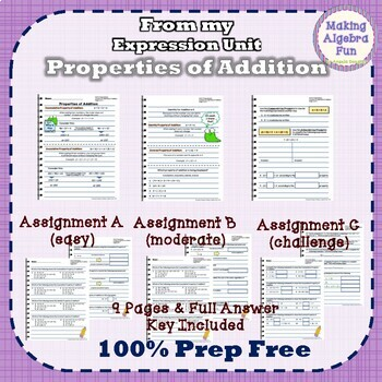 Pre-Algebra Properties of Addition Notes & Differentiated Homework