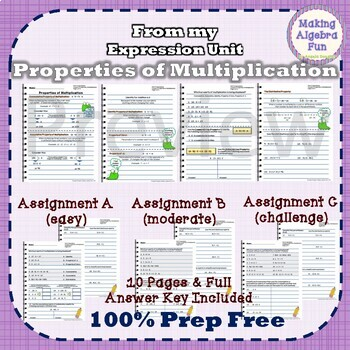 Pre-Algebra Properties of Multiplication Notes & Differentiated Homework