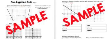 Pre-Algebra Quiz - Slope