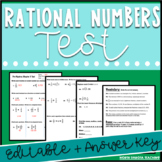 Pre Algebra - Rational Numbers Test: Editable with Answer