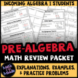 Pre-Algebra Review Packet - Back to School Math Packet for