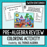 Pre-Algebra Review Stations Coloring Activity